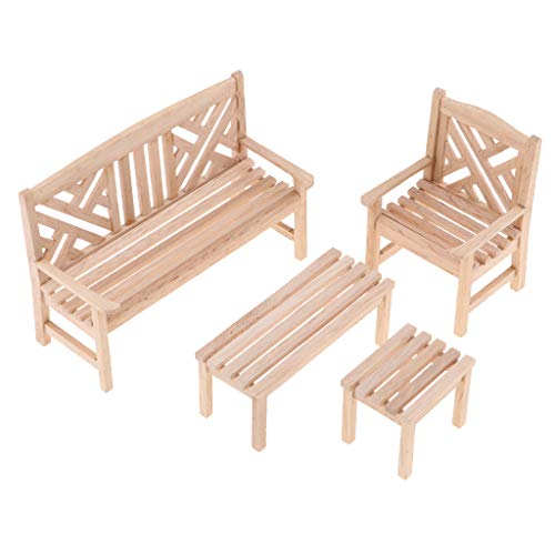 Fenteer 1/12 Skala Puppenstube Miniatur Sofa, Couch, Stuhl, Tisch, Schrank Möbel Modell Wohnzimmer Zubehör - Gartenbank+Stuhl+Tisch - Schlafzimmer Schrank Sammlung