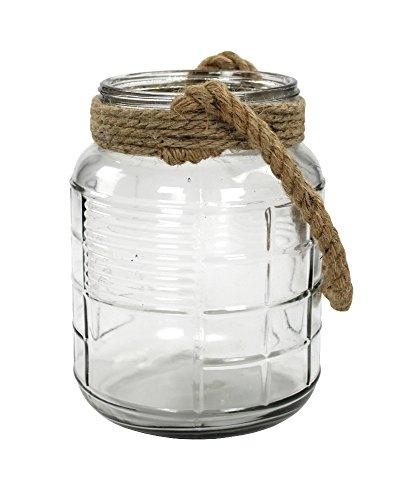 Echtglas-Laterne mit Seil-Griff natur klein