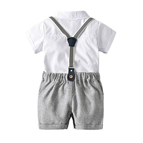MRULIC Infant Baby Jungen Gentleman Strampler Hosenträger Strap Shorts Outfits Sets Sommer Kurzarm Shirt und Hose(A2-Weiß,75-80CM)