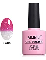 AIMEILI UV LED Thermo Gellack ablösbarer Nagellack Gel Polish - Hot Pink to Glitzer White (TC04) 10ml