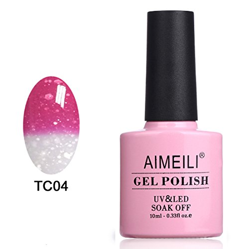 AIMEILI Soak Off UV LED Smalto in Gel Semipermanente che Cambia Colore con la Temperatura - Hot Pink to Glitter White (TC04) 10ml