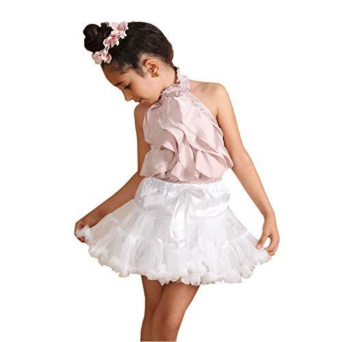 Kostüm Mädchen Petticoat - Ballerina Petticoat Schichten Tutu Flauschige Rock Kostüm Dance Party Kinder Mädchen (Größe groß (8-10 Jahre), Weiß)