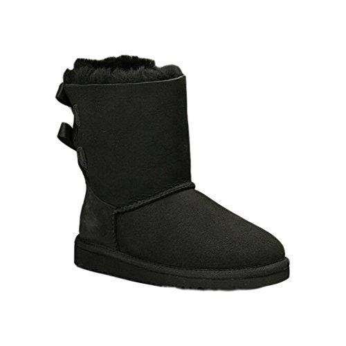 Minetom Femmes Bow Hiver Chaudes Bottes De Neige Fourrées Cheville Chaussures Plates