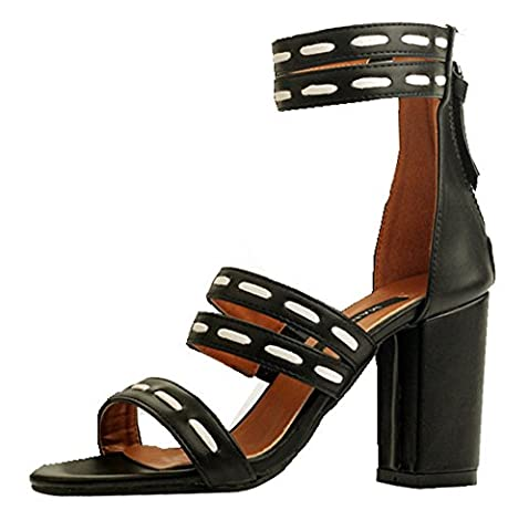 Easemax Women's Chic Open Toe High Chunky Heel Zip Up Mid Calf Ankle Straps Strappy Sandals (Black, 4 UK)