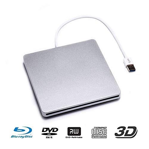 Externes Blue-Ray-Laufwerk, USB 3.0-Blu-Ray-CD/DVD-Brenner / -Schreiber mit 3D-Blu-ray-Disc-Wiedergabe für Mac/MacBook Pro/Air/iMac/Windows 10