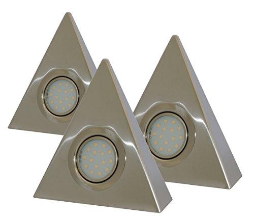 Rolux DF-1940, 3er Set, Zentralschalter, 3x 3W, A+, LED Dreieckleuchten aus Edelstahl, Metall, 3 watts , warmweiß, 15 x 15 x 0.5 cm