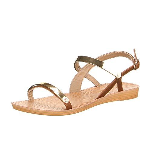 Ital-Design - Scarpe con cinturino alla caviglia Donna Marrone (marrone)