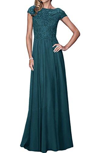 ivyd ressing Damen Exquisite breve maniche a linea Chiffon & Pizzo Lungo Abito del partito Prom Dress abito da sera Blaugruen