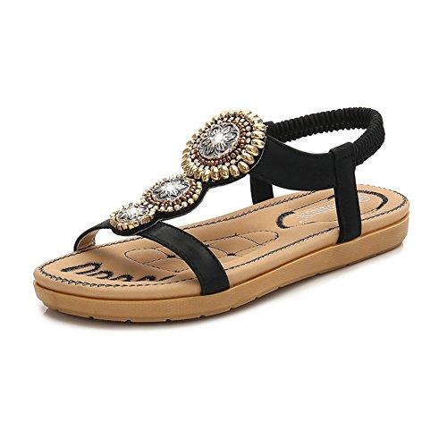 Sandacon zeppa con zeppa sandali etnici della boemia delle donne dei sandali della spiaggia di punta dei sandali della punta della clip etnica rotonda del fiore delle donne sandali stivali spessi