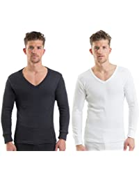 Mens Thermal Underwear V Neck Long Sleeve Vest, Various Colours & Sizes