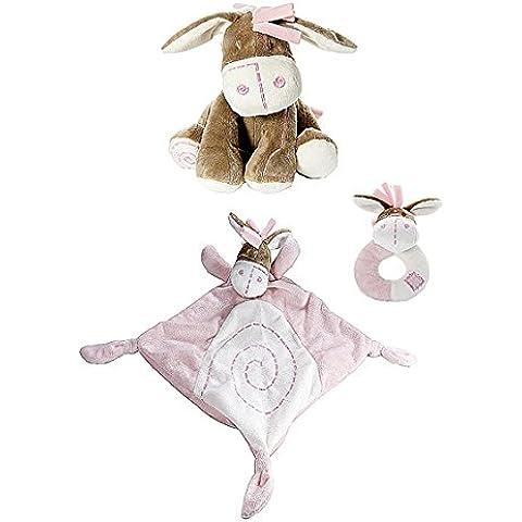 Set regalo davvero dolce con pupazzo a forma di asino per una bambina appena nata con coperta piumino con pupazzo abbinata e sonaglio morbido