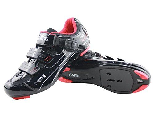 Raiko Sportswear HP2 Fahrradschuhe SPD-SL/Look Rennrad Ratschen-/Klettverschluss schwarz Größe 40 -