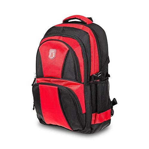 Elitar Rucksack Damen Herren Kinder Ergonomisch Daypack 34 Liter XL groß Organizer Handgepäck Backpack Schwarz Rot