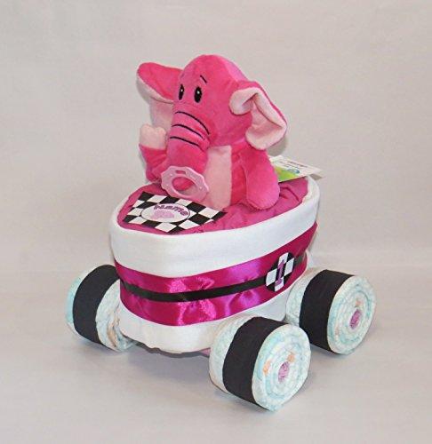 Pañales Pañales para tartas-Carreras Coche de Carreras + Elefante Color Rosa