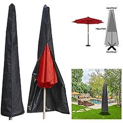 ESSORT Couverture pour Parasol Imperméable, Housses pour Parasols de Jardin en 190T Polyester, Housse de Protection pour Parasol Adapté pour Parasol de Jardin de 1,8 à 3.35 m, 190 × 57 × 26 cm, Noir
