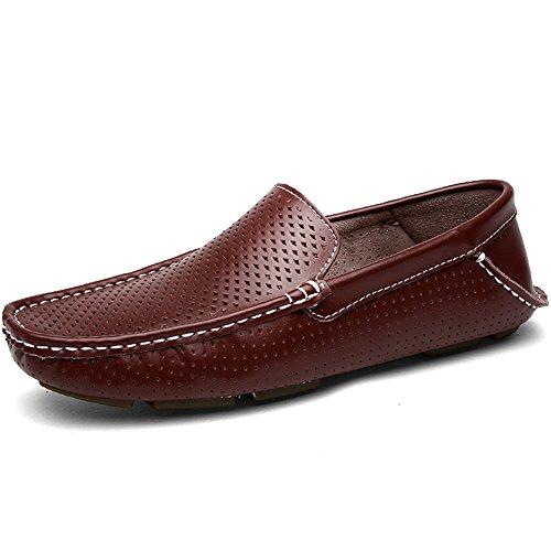 Shenn Männer höhlen beiläufige Slip auf flache Leder Faulenzer Schuhe 1717 Braun