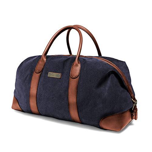 DRAKENSBERG Reisetasche, groß, handgepäck-tauglich, Premium-Qualität, Kimberley-Duffel-Weekender, 50 L, Canvas und Echt-Büffel-Leder, Marine-blau, braun, DR00156