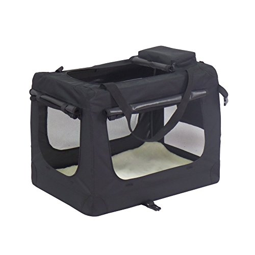 KExing Hundebox Transportbox faltbar Oxford Gewebe Faltbare Hundetransportbox Reisebox Katzen Hunde Auto Box, Schwarz. (M)