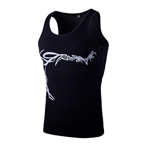 Dragon868 Herren Tanktop Tank Top Tankshirt Mode Workout Fitness Casual Slim Fit Ärmelloses Print Weste Top Bluse (Schwarz, L2)