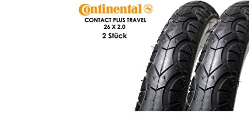 "2 Stück 26"" Zoll Continental Contact Plus Travel Fahrrad Reifen 50-559 26x2.0 Decke Mantel Reflex Steifen"