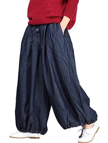 Cotton Wide Leg Capris (Vogstyle Damen Hose Gr. XL, Style 8-Blue)