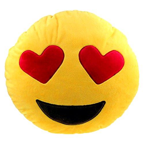 Brigamo 510 - EMOTICON KISSEN AUS PLÜSCH, 30 cm Durchmesser,Smiley Kissen mit diversen Motive zum sammeln (Emoticon mit Herzaugen) thumbnail