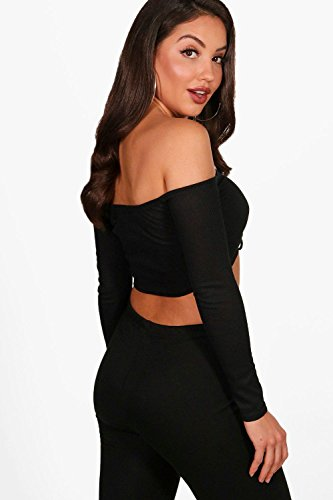 Le sable Femmes Kayleigh Knitted Rib Rouched Tie Detail Crop Le sable