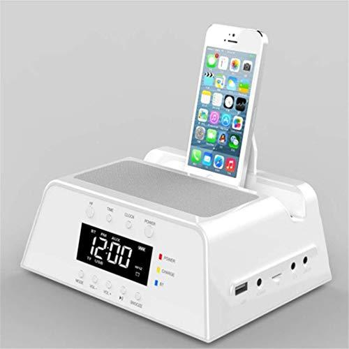 JM Digital Funkuhr Wecker, Multifunktionales Drahtloser Bluetooth-Lautsprecher FM Radio Uhr, Handy-Ladestation Audio Wecker Digital-Uhr