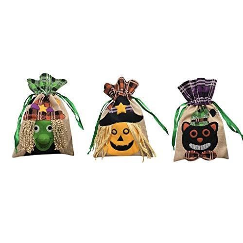 Regard Natral 1Pc / 3Pcs Halloween Theme Trick or Treat Kordelzug Beuter Kürbis-Schwarze Katzen-Hexe-Taschen-Tasche Pouch