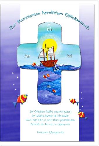 metalum Premium-Glückwunschkarte zur Kommunion mit schön gestaltetem Metall - Kreuz