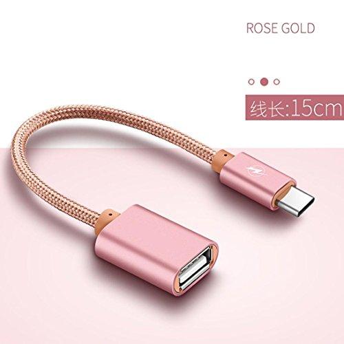 .1-Typ C-Stecker auf USB-Buchse OTG Daten-/ Ladekabel, rose gold, AS SHOW ()