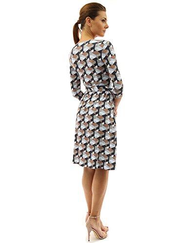 PattyBoutik femmes robe croisée manches 3/4 en col V à motif géométrique marron et noir