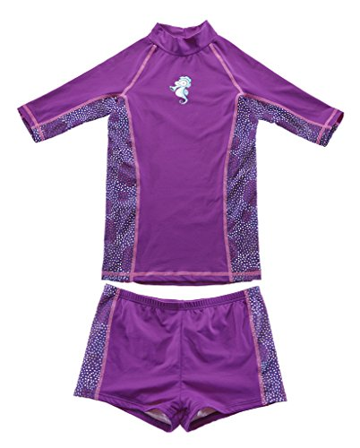 CharmLeaks Girls Short Sleeve Rash Vest Two Piece Rash Guard Swimming Costumes