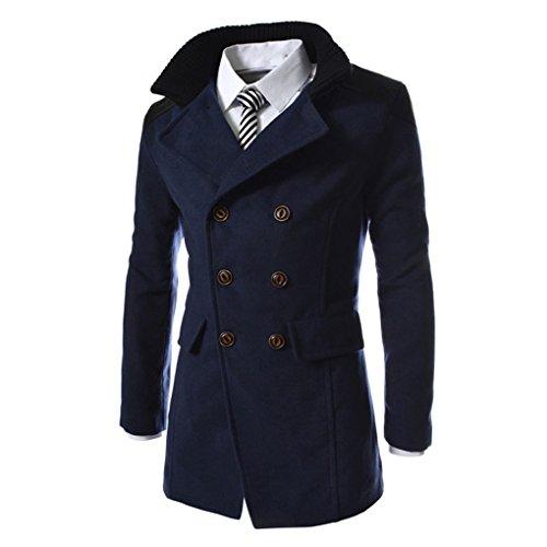 Herrenmantel Wintermantel Herren zweireihiger Windbreaker Jacke Revers Woll langen Mantel JYJM Männer Jacke warme Winter Graben lange Outwear Button Smart Mantel (M, Marine)