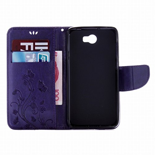 LEMORRY Huawei Y5 2 (Huawei Y5II) Custodia Pelle Cuoio Flip Portafoglio Borsa Sottile Fit Bumper Protettivo Magnetico Chiusura Standing Card Slot Morbido Silicone TPU Case Cover Custodia per Huawei Y5 Porpora