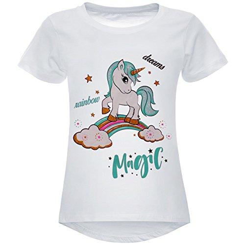 BEZLIT Mädchen Stretch T-Shirt Einhorn Regenbogen Motiv 22608, Farbe:Weiß, Größe:164