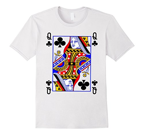 Card Playing Queen Costume (Queen Of Clubs Card Playing Card Poker Costume Card T-Shirt Herren, Größe M)