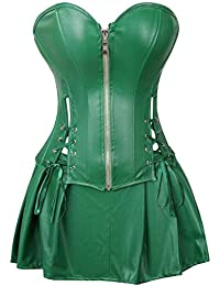 c52524676c HITSAN Corset Dress Women s Faux Leather Overbust Corset Bustier with Mini  Skirt Poison Ivy Costume Green