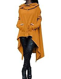 Longra Grande Taille Sweats à capuche Long Femme Chic Manteau à capuche  Original Vintage Tops à manches longues Trench Cape… e81e9a3797f