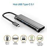 USB-C-Hub, Aluminium-C-Adapter, 6-in-1 Combo mit 4 K HDMI, 2 USB 3.0, Typ C Ladeanschluss, SD- und Micro SD/TF-Kartenleser für Notebook & Tablet PC & Mobiltelefon – MacBook Pro
