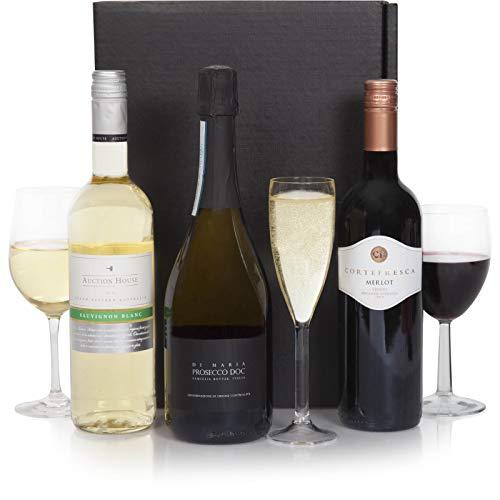 Die Mixed Trio Wein-Geschenk – Rotwein, Weißwein & Sekt – Auswahl von drei Flaschen Wein