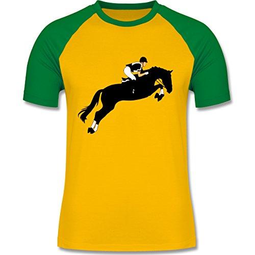 Reitsport - Springreiten Springreiten - zweifarbiges Baseballshirt für Männer Gelb/Grün