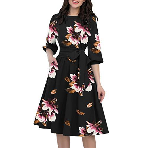 Tleegu Damen Kleider Sommer Retro V-Ausschnitt Laterne Mit Fünf Punkten A-Linienrock Mit Fünf Punkten