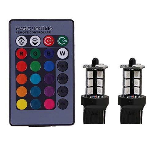 Asiproper - 2 fari con 27 LED da auto, SMD 5050 RGB, T20, lampadina fendinebbia e telecomando