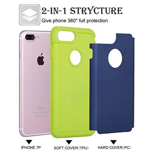 iPhone 7 Plus Coque, SpiritSun iPhone 7 Plus Etui 2 en 1 Impact Hybride Souple Silicone TPU + Dur PC Antichoc Bumper Double Etui Coque de Protection pour Apple iPhone 7 Plus (5.5 pouces) avec Stylet - Vert et Bleu Marin