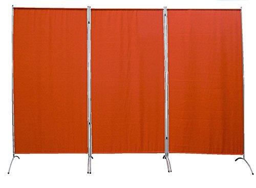 PARAVENT 264x180cm 3-teilig Raumteiler Sichtschutz Stellwand Trennwand aus Stoff (Terrakotta)