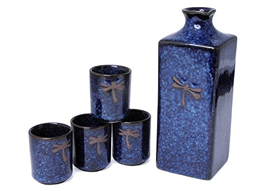 Happy Sales HSSS-DFS08, 5 pc Japanese sake set Blue Dragonfly by Happy Sales -