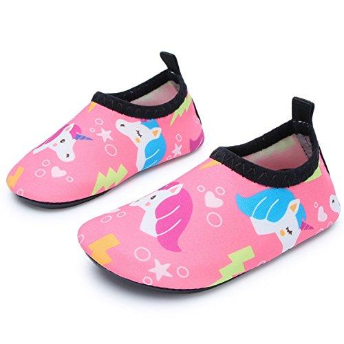 JIASUQI Baby Innen Strand Gehenden Wasser Schuhen für Swim Fluss Pool, Rosa Einhorn 6-12 Monate (Herstellergröße : 17/18)