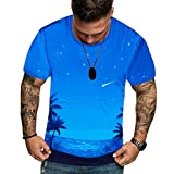 MOTOCO Herren Hawaii Kurzarm T-Shirt Top/Sommermode Slimed O-Neck 3D Print Muster Freizeithemd T-Shirts(XL,Himmelblau)