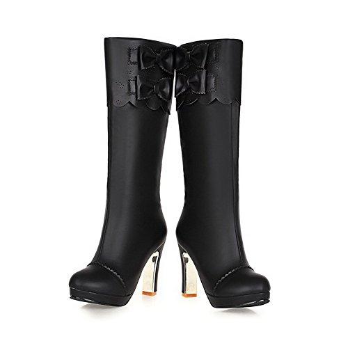 Damen Blend-Materialien Rund Zehe Rein Knie Hohe Hoher Absatz Stiefel, Schwarz, 36 VogueZone009